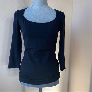 cotton, modal, spandex back cutout 3/4 sleeve top